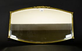 High Quality 19th Century Brass Framed Wall Mirror Convex Form Applied Floral Decoration And Fleur