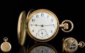 American Watch Co Waltham Mass 10ct Gold Plated Full Hunter Pocket Watch.