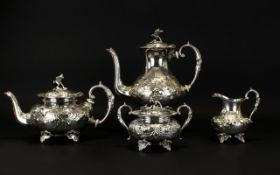 Antique Period Nice Quality and Decorative 4 Piece Silver Plated Tea and Coffee Service of Solid