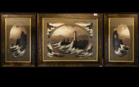 Early Twentieth Century Seascape Triptych Housed in original frames,