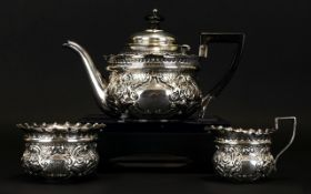 Victorian Period - Superb Quality Bachelors Embossed Silver 3 Piece Tea - Service of Very Small
