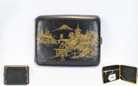 Japanese Damascene Cigarette Case, Gilt Decoration Showing Pagodas, Mount Fuji.