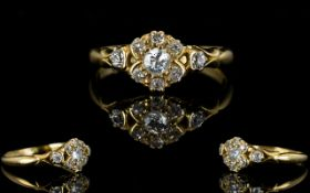 Late Victorian Period - Superb 18ct Gold Diamond Set Ladies Dress Ring,