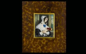 Portrait Miniature Depicting Georgian lady reading bible.