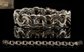 1950's Swedish Solid Silver Heavy Double Link Bracelet by Bengt Hallburg - Guldvarfirma with