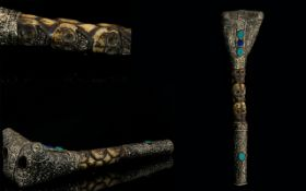 Nepal Flute - Decorated With Turquoise Stones And With Silvered Aztec Detail. Carved Skulls To