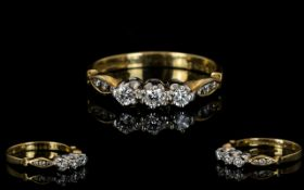 9ct Gold and Platinum Ladies 3 Stone Diamond Ring,