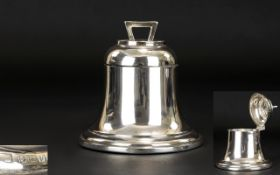 Antique Period Superb Quality Silver Desk Inkwell In The Form of a Large Bell,