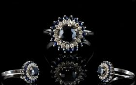 18ct White Gold Attractive Diamond and Sapphire Set Cluster Ring, Flower head Design,