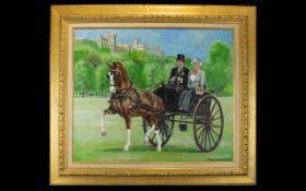 Ad Den Dikken (Dutch b. 1946) Equestrian/British Monarchy Interest Original Oil On Canvas.
