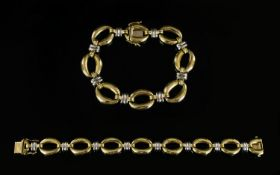Italian Champesa Nice Quality 9ct Two Tone Gold Marine Link Bracelet, Fitted with Slide In Clasp.