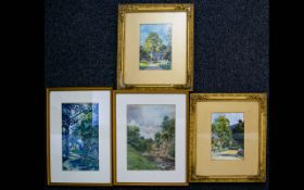 A Collection Of Early 20th Century Watercolours Four in total, each depicting lakeland landscapes,
