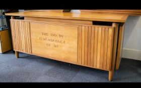 Ecclesiastical Interest A Mid Century Oak Altar Table Large light varnished oak rectangular altar