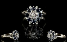 Ladies 1970s attractive 18ct Gold, Diamond & Sapphire Cluster Ring.