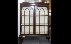 A Mahogany Glazed Display Cabinet Astral Glazed Cabinet of Typical Form with Claw & Ball Feet and