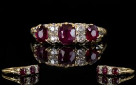 Antique Period 18ct Gold Set Ruby and Diamond Ring, The Three Rubies of Pigeon Blood Colour,