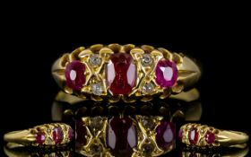 Victorian Period 18ct Gold Ruby and Diamond Dress Ring.