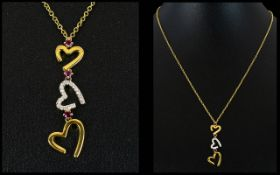 Fiorelli 9ct Yellow Gold And Diamond Set Open heart Pendant Necklace Contemporary necklace with