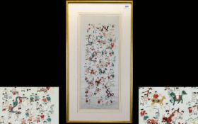 Chinese Silk Panel Depicting 100 Children 22 x 9 inches, ivory silk ground with multi-colour silk