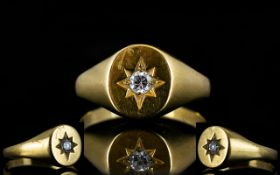 Gents 9ct Gold Single Stone Diamond Dress Ring,