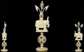 Indian 19th Century Nice Quality Carved Ivory Puzzle Ball with Elephant Figure Above. c.1900.