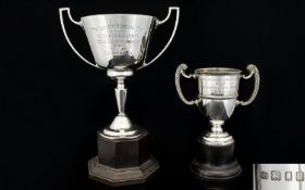 Silver Twin Handle Manchester University Fencing Trophy Date 1937. Hallmark Birmingham 1936,