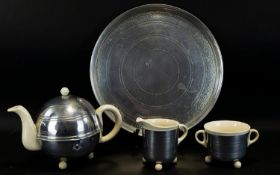 An Original 1930's Ceramic And Stainless Steel Tea Service 'Rosie -Lea' By Conqueror Table Ware