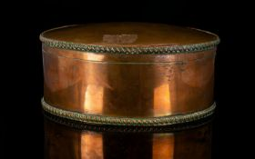 Early Regency Copper Box. Inside Silver Plated With Detail To The Outer Rim And Base. Height 3.5