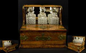 Victorian Period - Superb Quality Carved Light Oak 3 Decanter Tantalus,