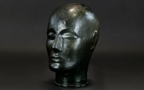 A Retro Glass Milliners Head Unisex textural smoked glass head bust in very good condition.