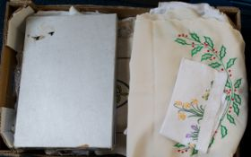 Box of Assorted Linen Large box of items comprising 2 Cotton Underskirts, Embroidered Linen Panel,