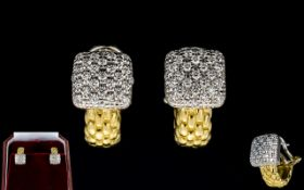 Ladies Fopes Flex'It Vendome Superb Quality & Attractive Pair of 18ct Yellow Gold And Diamond Set