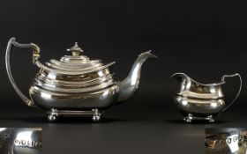 George III - Excellent Quality and Well Made Silver Teapot with Matched Milk Jug of Superb Shape