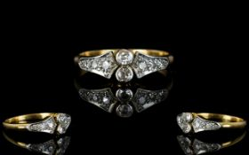 Art Deco Period Ladies 18ct Gold and Platinum Dress Ring. c.1920's.