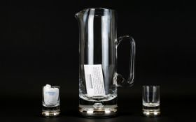 Broadway Krosno Plain Sterling Silver and Hand Blown Glass Water Jug of Contemporary Design of