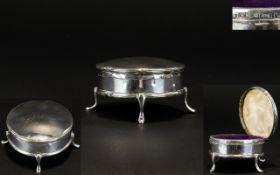 Edwardian Period Circular Shaped Hinged Silver Trinket Box, Raised on 4 Splayed Legs.