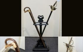 Cast Iron Umbrella Stand Edwardian style floor standing receptacle in black lacquer finish with
