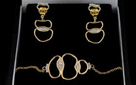 Fiorelli 9ct Yellow Gold And Pave Detail Contemporary Bracelet And Earring Set Fine gold bracelet