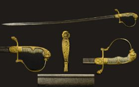 Prussian ' Crosses Degen ' Cavalry Officers Imperial Sword with Damascus Blade,