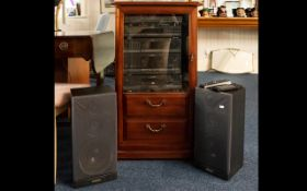 A Modern Stereo Cabinet Dark wood with glazed front containing Toshiba HI-FI system.