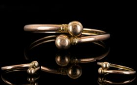 Ladies - Edwardian Period Rose Gold Open Set Bauble End Bangle, with Attractive Rose Gold Tone. 14.