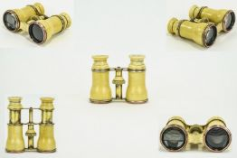 A Fine Pair of Victorian Ivory Cased Opera Glasses with rose gold plated rims in excellent