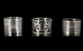 A Collection of Antique and Vintage Silver Napkin Holders ( 3 ) Various Hallmarks.