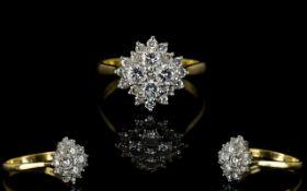 Ladies Attractive 18ct Gold, Diamond Set Cluster Ring.