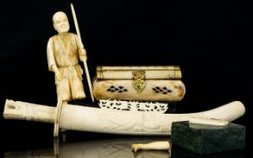 A Small Mixed Lot Of Oriental Items To include bone casket, bone paper knife and ivory figure.
