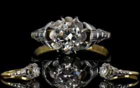 Edwardian Period - Superb 18ct Gold Single Stone Diamond Ring.
