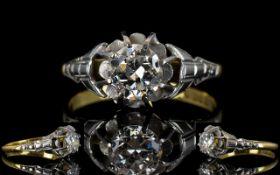 Edwardian Period - Superb 18ct Gold Single Stone Diamond Ring.