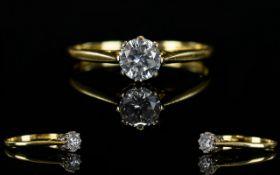 Ladies - 18ct Gold Impressive Single Stone Diamond Ring.