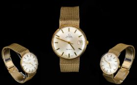 Omega - 9ct Gold Gentleman's Retro Automatic Wrist Watch with integral 9ct Gold Mesh Bracelet,