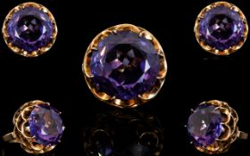 Ladies - Very Attractive and Impressive 1960's 14ct Yellow Gold Stunningly Set Raspberry Amethyst